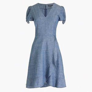 JCREW chambray wrap dress size 0